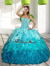 2015 Sweetheart Multi Color Quinceanera Gown with Ruffles and Beading QDDTA12002FOR