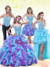 2015 The Most Popular Beading and Ruffles Sweetheart Quinceanera Dresses in Multi Color QDDTA71001FOR