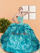 2015 The Most Popular Sweetheart Teal Quinceanera Dresses with Beading and Pick Ups QDDTC49002-1FOR