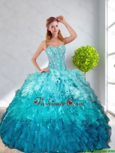 2016 Fall New Style Multi Color Quinceanera Gown with Ruffles and Beading QDDTA12002TZFXFOR