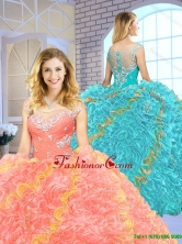 2016 Popular Beading Scoop Quinceanera Gowns with Zipper Up SJQDDT151002-1FOR