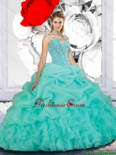 2016 Summer Cheap Beaded Ball Gown Straps Quinceanera Dresses in Turquoise QDDTA116002-1FOR