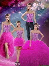 2016 Summer Cheap and Detachable Sweetheart Ball Gown Beaded and Ruffles Quinceanera Dresses in Fuchsia QDDTA5008-2FOR