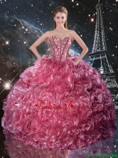 2016 Summer Popular Ball Gown Coral Red Quinceanera Dresses with Ruffles and Beading QDDTA95002FOR