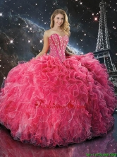 2016 Winter Perfect Coral Red Sweetheart Quinceanera Dresses with Beading and Ruffles QDDTA108002FOR
