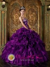 Appliques and Ruffles Decorate Bodice Pretty Eggplant Purple Wholesale Quinceanera Dress Strapless Organza For 2013 Quinceanera IN Cerrillos Uruguay Style QDZY244FOR