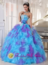 Baby Blue sweetheart 2013 Quinceanera Dress Purple Appliques Ruffles and Hand Made Flower  in Mercedes Uruguay Wholesale Style PDZY471FOR