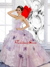 Beading and Appliques 2015 Artistic Quinceanera Dresses with Brush Train QDDTC12002FOR