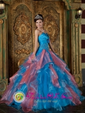 Beading and Ruffles Decorate Bodice Sky Blue and Watermelon Red For Wholesale  2013 Quinceanera Dress Strapless Organza IN Migues Uruguay Style QDZY242FOR