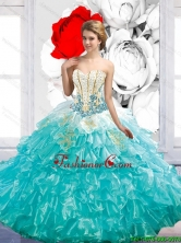 Beautiful 2015 Summer Floor Length Quinceanera Dresses with Beading and Ruffles SJQDDT39002FOR