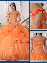 Beautiful Ball Gown Appliques and Hand Made Flowers Sweet 16 Dresses  QDZY575AFOR