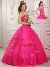 Best Selling A Line Floor Length Quinceanera Dresses in Hot Pink  QDZY090BFOR