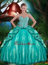 Cheap Beaded and Ruffled Layers Quinceanera Dresses in Taffeta for 2016 Summer QDDTA80002FOR