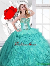 Classical Ruffles and Beaded Quinceanera Gowns in Turquoise SJQDDT122002FOR