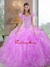 Comfortable Sweetheart Beading and Ruffles Lilac Sweet 16 Dresses for 2015 QDDTC21002FOR