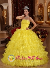 Customer Made Yellow Ruches Bodice Ruffles Layered Amazing Quinceanera Dress IN Florida Uruguay Style QDZY730FOR