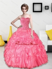 Discount 2015 Beading and Ruffles Sweetheart Quinceanera Dresses QDDTD2002FOR