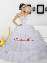 Discount Beading and Ruffled Layers White Quinceanera Dresses for 2015 QDDTC44002-1FOR