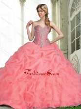 Elegant 2015 Fall Quinceanera Dresses with Beading in Watermelon SJQDDT64002FOR