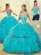 Elegant Aqua Blue Sweet 16 Dresses with Beading and Ruffles SJQDDT186002FOR