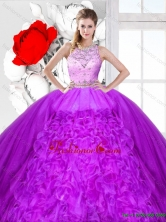Elegant Scoop Quinceanera Dresses with Beading and Ruffles SJQDDT121002-1FOR