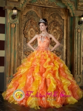 Exclusive Strapless Orange Quinceanera Dress Appliques Decorate Organza Ruffles Ball Gown For 2013   Paso de los Toros Uruguay Style QDZY241FOR