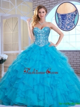 Exquisite Aqua Blue Sweet 16 Gowns with Beading and Ruffles SJQDDT163002C-2FOR