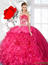 Exquisite Ball Gown Beaded Quinceanera  Dresses in Hot Pink SJQDDT125002FOR