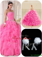 Exquisite Ball Gown Hot Pink Sweet 16 Gowns with Beading  PDZY724EFOR