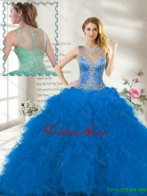 Fall Perfect Scoop Ruffles Blue Quinceanera Gown with Beading SJQDDT113002A-2FOR