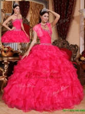 Fashionable Beading Coral Red Quinceanera Gowns with Sweetheart  QDZY032EFOR