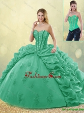 Hot Sale Turquoise Quinceanera Dresses with Brush Train for 2016 SJQDDT191002-8FOR