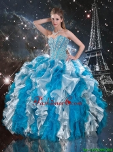 Luxurious 2016 Summer Beaded White and Blue Quinceanera Dresses with Ruffles QDDTA104002FOR