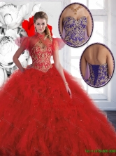 Luxurious Red Sweetheart Quinceanera Gowns with Beading SJQDDT131002-1FOR
