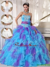 Luxurious Strapless Quinceanera Gowns with Beading and Appliques  PDZY471DFOR