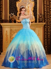 Multi-color Blue Quinceanera Dress Sweetheart Beading for 2013 Quinceanera IN Colonia del Sacramento Wholesale Uruguay Style QDZY109FOR