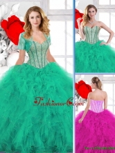 New Arrivals Beading and Ruffles Quinceanera Gowns SJQDDT137002FOR