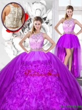 Perfect Beaded and Ruffles Detachable Quinceanera Dresses with Scoop SJQDDT121001-1FOR
