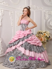 Pink Quinceanera Dress Taffeta and Zebra For Sweet 16 With Pick-ups Beading Ball Gown IN Durazno Uruguay  Wholesale Style QDZY017FOR