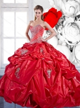 Popular Pick Ups and Appliques 2015 Red Quinceanera Dresses with Brush Train QDDTC38002FOR