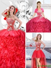Red 2016 Fashionable Detachable Quinceanera Dresses with Ruffles SJQDDT126001-1FOR