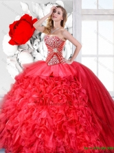 Red Sweetheart Perfect Quinceanera Gowns with Beading SJQDDT126002-1FOR