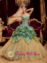 Remarkable Olive Green Pick-ups Beading Strapless Quinceanera Dress With Taffeta and Tulle 2013 for Quinceanera in Fray Bentos Uruguay Wholesale  Style QDZY223FOR