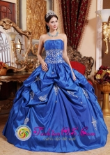 Royal Blue Appliques Decorate Waist For Elegant Spring Quinceaner Dress With Pick-ups  IN Melo Uruguay Style QDZY482FOR
