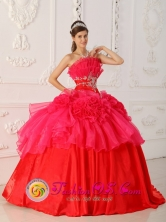 Strapless Red Appliques Decorate Waist For 2013 Quinceanera Dress IN Salinas Uruguay Style QDZY325FOR