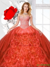 Straps and Ruffles Luxurious Quinceanera Dresses with Beading SJQDDT127002-1FOR