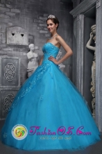 Sweetheart Applique Decorate Baby Blue Tulle Quinceanera Dresses With  A-line Style In Oklahoma in Summer IN San Carlos Uruguay Style ZYLJ02FOR