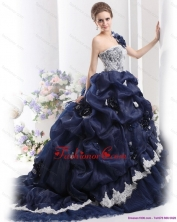 The Most Popular 2015 One Shoulder Ruffles Quinceanera Dresses with Hand Made Flowers and Pick Ups WMDQD005FOR