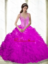 The Most Popular Beading and Ruffles Sweetheart Fuchsia 2015 Dresses for a Quinceanera SJQDDT16002-2FOR