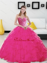 The Most Popular Beading and Ruffles Sweetheart Hot Pink 2015 Quinceanera Dresses SJQDDT14002-1FOR